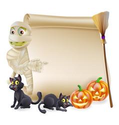 mummy scroll halloween banner vector image
