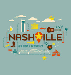 Nashville landmarks attractions and text design vector