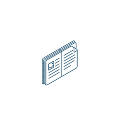 open book isometric icon 3d line art technical vector image