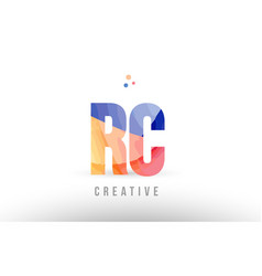 Orange blue alphabet letter rc r c logo icon vector