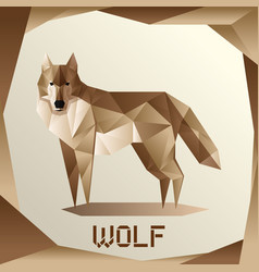 origami grey wolf vector image