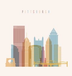 Pittsburgh city skyline colorful silhouette vector