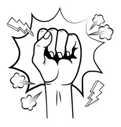 pop art hand clenched cartoon in black and white vector image