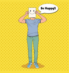 Pop art man with smiley emoticon on paper sheet vector