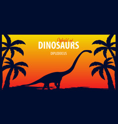 poster world of dinosaurs prehistoric world vector image
