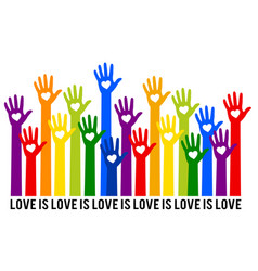 rainbow hands with hearts love is love vector image