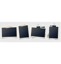 Realistic blank photo card frame film set retro vector
