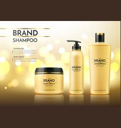 realistic spa cream tube dry shampoo bottle vector image
