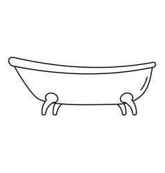 retro bathtube icon outline style vector image