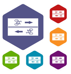 Road for cyclists icons set vector