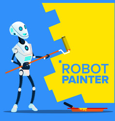 robot painter paints the wall with roll brush vector image