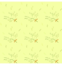 Seamless pattern with light green herbs ang ribbon vector image