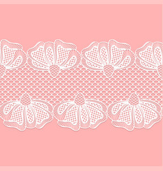 Seamless white flower lace border lace ribbon vector