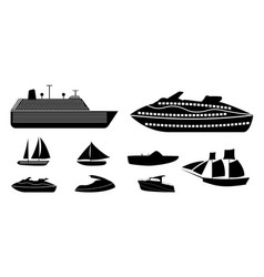 set different types boats for recreation and vector image
