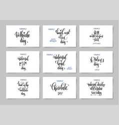 set hand lettering posters about february 9 vector image