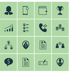 set of 16 hr icons includes employee location vector image