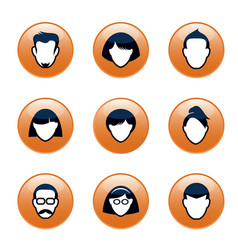 Set orange buttons and people icons for web vector