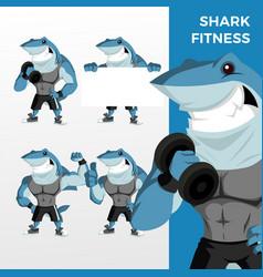 shark fitness mascot character set logo icon vector image
