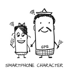 Smartphone characters sketch for your design vector