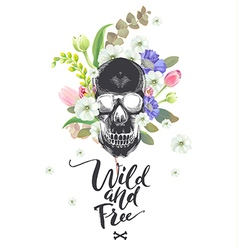 smiling cartoon skull and flowers day the dead vector image