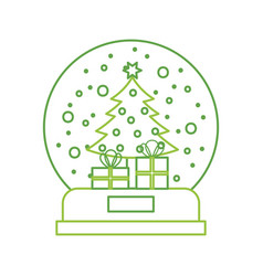 Snow globe and christmas fir tree decorated with vector