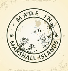 Stamp with map flag of Marshall Islands vector