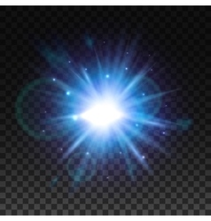 Star light flash with lens flare effect vector