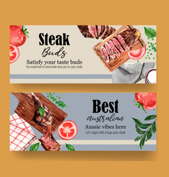 Steak banner design with grilled meat onion basil vector