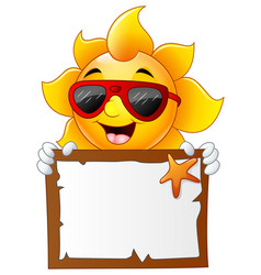 sun characters cartoon with summer billboard vector image