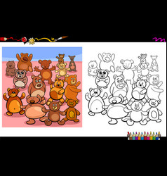 Teddy bears characters group coloring book vector