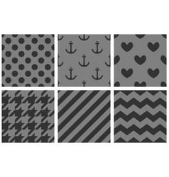 tile pattern set with chevron zig zag polka dots vector image