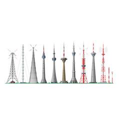 Tower global skyline towered antenna vector