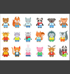Toy kids animals in clothes characters set cute vector