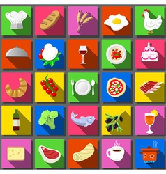 Twenty Five Square Flat Icon Italian Food vector