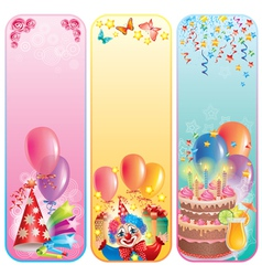 Vertical birthday banners vector