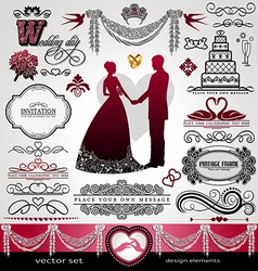 Wedding Day background ornaments set vector image