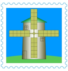 Windmill on stamp vector