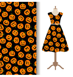 womens dress fabric pattern with pumpkin vector image