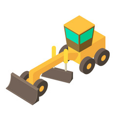 Yellow motor grader icon isometric 3d style vector