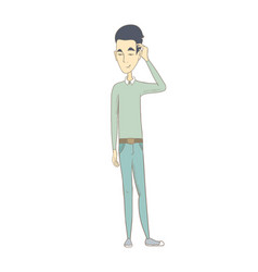 young asian man scratching his head vector image