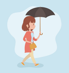 young woman walking with umbrella avatar character vector image