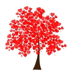 a tree covered with hearts vector image