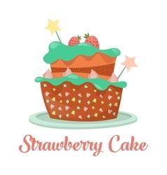 Baked strawberry cake dessert food vector image