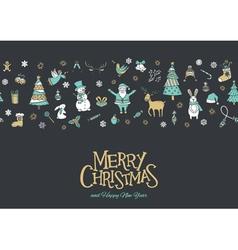 christmas pattern banner grey vector image