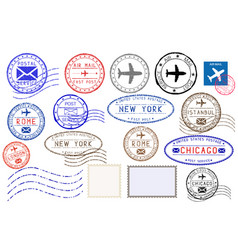 collection of colored postal stamps from different vector image vector image