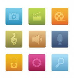 multimedia icons square vector image vector image
