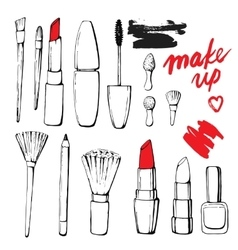 Set of linear hand drawn icons vector image