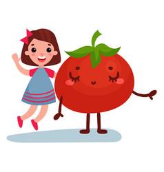 sweet little girl having fun with giant tomato vector image