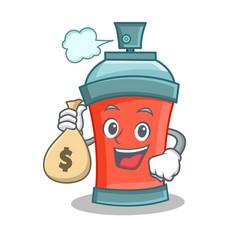 with money bag aerosol spray can character cartoon vector image vector image