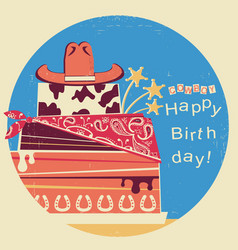Cowboy happy birthdaywestern card with cake and vector
